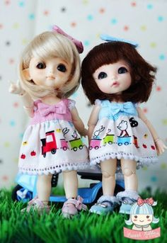 Inspiration Outfit for Tiny doll (16 cm.) Lati Yellow Train party set (2 dress included)