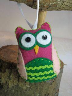 Handmade Felt Owl Ornaments