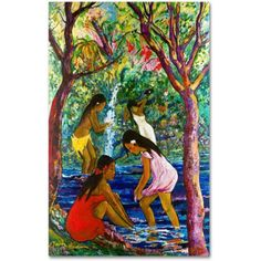 Trademark Fine Art Four Girls In Maui Canvas Art by Manor Shadian, Size: 30 x 47, Multicolor