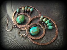 Old Copper Hoops Turquoise Gemstone Beaded Earrings by YuccaBloom