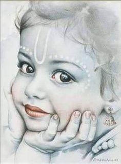 lord bal krishna and moon Krishna Flute, Jai Shree Krishna, Radha Krishna Love, Krishna Radha, Little Krishna, Cute Krishna, Krishna Drawing, Krishna Painting, Lord Krishna Images