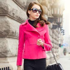 2015 spring new high-end handmade wool fleece coat female woolen jacket USD$299.75