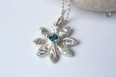 Flower Necklace Sterling Silver Swiss Blue Topaz Gem Fine Silver Necklace Bezel Set Blue Gemstone Necklace Carved Flower Pendant Vivid Blue by CMFDesignsJewellery on Etsy