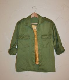 Vintage Military Shirt Jacket Olive Drab Green by founditinatlanta, $42.00