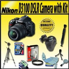 Nikon D3100 14.2MP Digital SLR Camera with 18-55mm f/3.5-5.6 AF-S DX VR Nikkor Zoom Lens and Advance Accessory kit - Package includes:Opteka UV(0) Filter, Travel Tripod, 8GB high speed SD memory card and Much More!   Price:$699.00