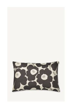 A black and white Pieni Unikko pattern decorates this cotton cushion cover that measures X The cotton fabric is specially made in Finland. Marimekko, Pillow Covers, Black And White, Pillows, Bags, Ideas, Products, Fashion, Handbags