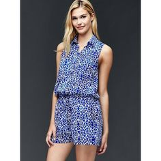 d81918448bd Gap Women Sleeveless Shirt Romper ( 36) ❤ liked on Polyvore featuring  jumpsuits
