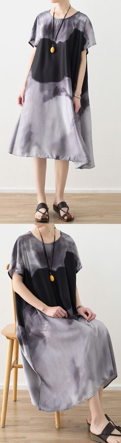 8de0d2be40 Elegant gray natural chiffon dress Loose fitting prints o neck chiffon maxi  dress women short sleeve