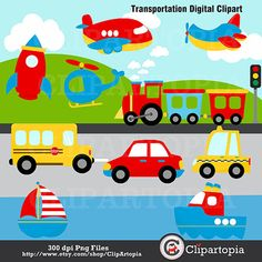 transportation, transportation clipart, transportation clip art, cute transportation. car, plane aeroplane, bus, school bus, taxi, boat, trains