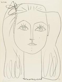 Françoise au Noeud dans les Cheveux - Françoise with a Bow in Her Hair (1946),  Pablo Picasso
