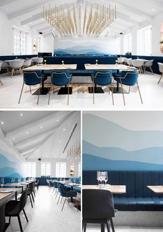 This modern restaurant has a pitched ceiling that's highlighted by striking brass installation that hangs above the space and a calming mountain mural in blues and greys. #ModernRestaurant #OmbreWall