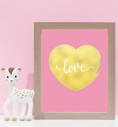 Gold Foiled Heart On Pink. Kids wall art and wall prints.  Shop Love JK for nursery decor and nursery ideas.