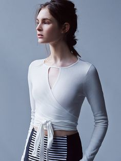 Pretty much obsessed with the ballet-inspired look this Spring. Free People Rhapsody Top, in Ivory.
