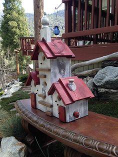 Custom Built Functional Birdhouse Condo Outdoor Garden Decor Post Mount Large…