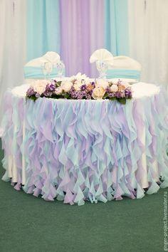 Decor for wedding ceremony / Купить Оформление свадьбы, украшение стола президиум волнами из легкой ткани - свадебное оформление
