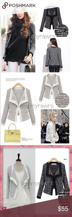 """🆕 The MELISSA Open Cardigan in WHITE This knitted style cardigan is a must for every women's closet!! Super chic and can easily be dressed up or down! Features textured body with solid trims. Comes in 2 colors. Material: Cotton/ Polyester Blend. Rough Measurements while laying flat • MEDIUM: bust 32"""" • LARGE 35"""" • XXL 38"""" • These are open cardigan so if you have a bigger bust it should be okay. •• ONLY WHITE LEFT •• Tops"""