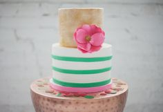 Emerald and Pink Wedding Ideas - Sugar Bee Sweets Bakery - Pink and Gold Cake