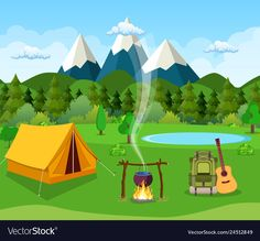 New tent camping illustration summer Ideas Camping Theme, Tent Camping, Outdoor Camping, Zoom Wallpaper, Scenery Wallpaper, Web Design, Flat Design, Powerpoint Background Design, School Painting