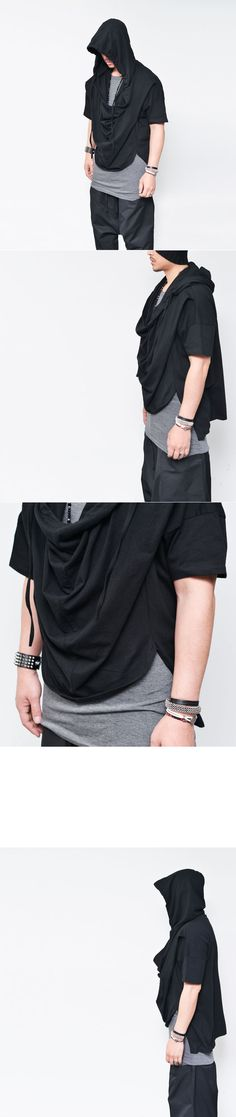 Tops :: Hoodies :: Ovesized Hood Unbalance Shirring Drape-Hoodie 119 - Mens Fashion Clothing For An Attractive Guy Look
