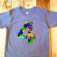 Dinosaur birthday shirt 4 four year old 4th by BestBirthdayEver