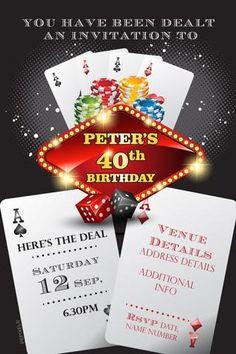 Casino Birthday Digital Printable Invitation Template Poker - Party invitation template: casino theme party invitations template