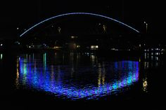 The new Amelia Earhart Memorial Bridge in Atchison was illuminated during a light show on Nov. 6 showcasing the bridge's double arches.