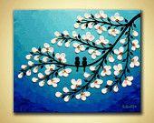 Birds on tree Original artwork  Modern Acrylic art contemporary 3D flower Canvas art Aqua Blue Home wall art decor - 8x10 floral bird art