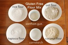 Gluten Free Flour Mix Ingredients 1 C white rice flour 1 C oat flour 1 C coconut flour 1 C tapioca flour/starch 1/4 C cornstarch 3 1/2 tsp. xantham gum Instructions Combine all ingredients together and make sure they are mixed well. Store in an airtight container and use as flour in any baking recipe. Copyright © YourHomeBasedMom