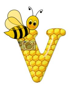 Alphabet letters bee on honeycomb. Alphabet Art, Alphabet And Numbers, Scrapbook Letters, Bee Pictures, Cartoon Clip, Spelling Bee, Bee Party, Bee Crafts, Letter V