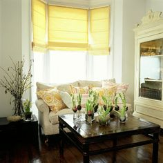 A neutral living room with yellow blinds and spring flowers. So pretty! Sofa Layout, Furniture Layout, Living Room Furniture, Living Room Decor, Living Room Images, Living Room Windows, Living Room Sets, Classic Living Room, Interior Decorating