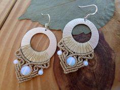 Opalite macrame earrings hoop earrings micro by SelinofosArt