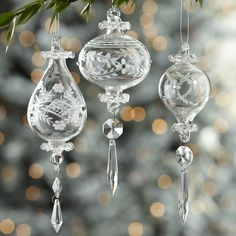 Our Victorian ancestors adorned their Christmas trees with etched, blown-glass baubles just like these, with their pendants shimmering as they moved gently on the branches.
