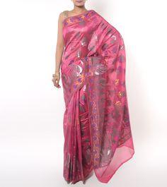 Pink Cotton Silk Banarasi Saree