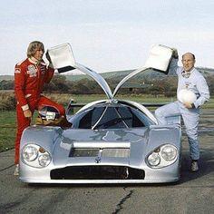 James Hunt et Stirling Moss au lancement de Nimrod 2 1981 Sports Car Racing, F1 Racing, Race Cars, Le Mans, Grand Prix, James Hunt, Car Racer, Motosport, Ferrari Car