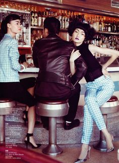 Captured by Lincoln Pilcher, models Wang Xiao, Lily Zhi and Zhao Lei get caught in a love triangle for the March edition of Vogue China.