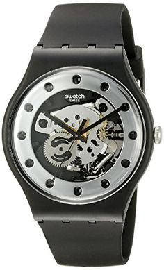 Men's Wrist Watches - Swatch Unisex SUOZ147 Silver Glam Analog Display Quartz Black Watch >>> You can find out more details at the link of the image.