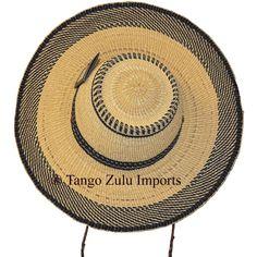 African Straw Hat Medium Broad Rim And Strap - Tango Zulu Imports