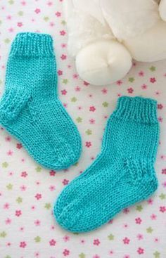 Comfy Baby Socks Free Knitting Pattern from Red Heart Yarns