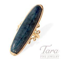 Estate 14K Yellow Gold Green Agate Ring | Tara Fine Jewelry, Atlanta. Agate Ring, Green Agate, Atlanta, Gemstone Rings, Fine Jewelry, Gemstones, Yellow, Gold, Vintage