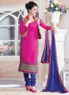 Marvelous Magenta With Blue Pure Georgette Churidar Churidar Suit