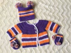 For a six month old Clemson Tigers fan. All crochet