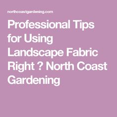 Professional Tips for Using Landscape Fabric Right ⋆ North Coast Gardening Landscape Fabric, North Coast, Gardening, Landscaping, Tips, Decor, Decoration, Lawn And Garden, Yard Landscaping