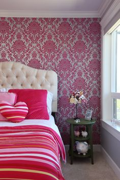 Papering one wall in a big beautiful pattern is a great way to add tons of personality to a room for little cost. Serene Bedroom, Bedroom Colors, Custom Built Homes, Big And Beautiful, Beautiful Patterns, Personality, Bedrooms, Couch, Colorful