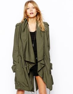 Love this: Drape Front Parka @Lyst