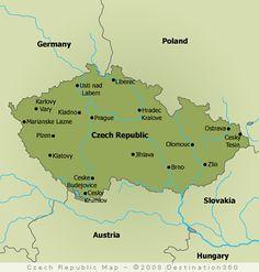 The map of Czech Republic