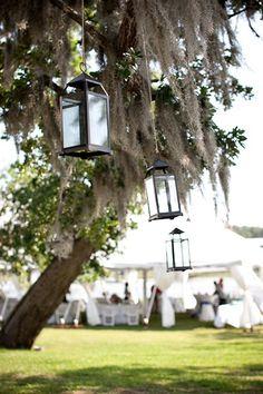 Lowcountry wedding, Spanish moss, lanterns