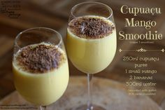 Cupuaçu and mango smoothie Dragon Fruit Smoothie, Healthy Fruit Smoothies, Smoothie Recipes, Pitaya, Watermelon Flower, Carrot Flowers, Cupuacu, Mango, Cacao Chocolate