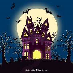 Halloween house with bats and cemetery Vector Halloween Cartoons, Spooky Halloween, Chat Halloween, Moldes Halloween, Halloween Borders, Halloween Poster, Halloween Banner, Halloween Signs, Halloween Pictures