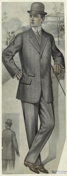 [Man in suit, outdoors, 1910s.]