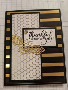 Featuring Golden Honey DSP and detailed bee dies, gift of fall paper pumpkin stamps Bee Honeycomb, Golden Honey, Bee Cards, Thanks Card, Bee Gifts, Bee Design, Butterfly Cards, Cards For Friends, Paper Pumpkin